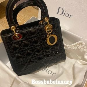 Auth medium Lady Dior patent Cannage calfskin bag